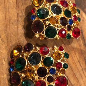 Unknown Jewelry - BEAUTIFUL MULTI COLORED CLIP ON EARRINGS